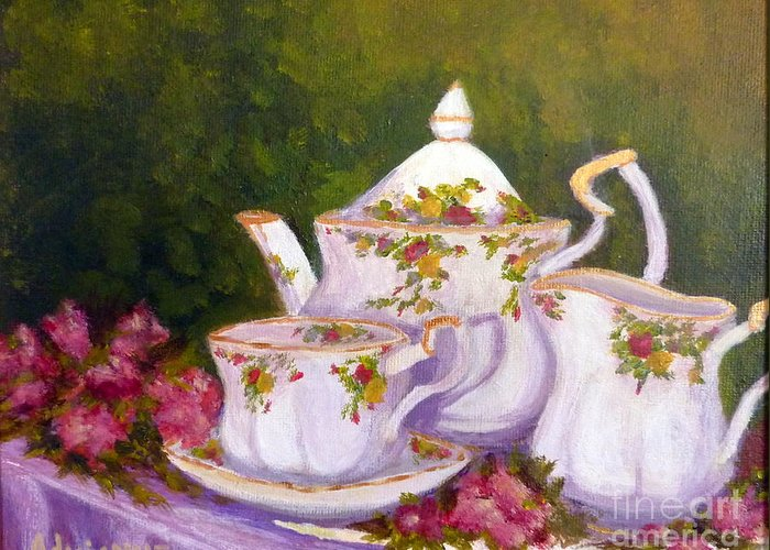 Teapot Greeting Card featuring the painting Old Country Roses by Adrianne Wagers