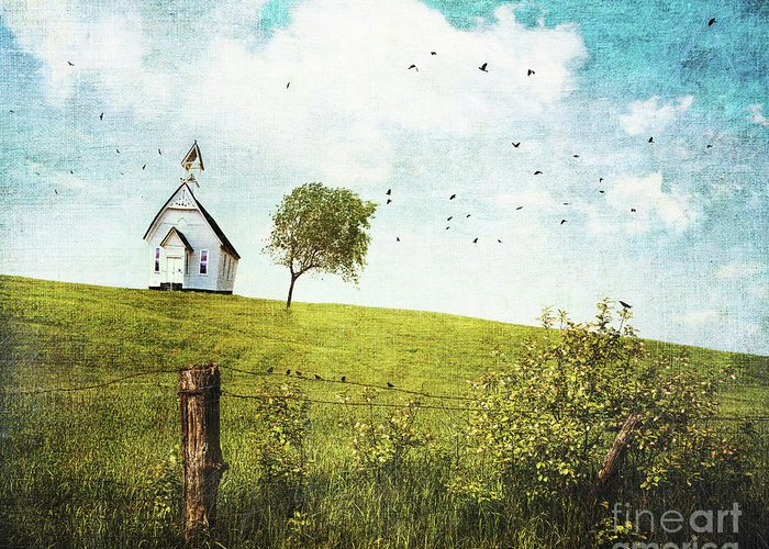 Abstract Greeting Card featuring the photograph Old Country School House On A Hill by Sandra Cunningham