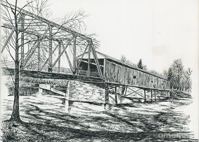 Traditional Greeting Card featuring the painting Old Covered Bridge by Samuel Showman