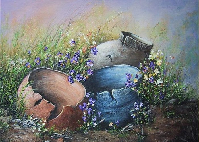 Pottery Greeting Card featuring the painting Old Crocks by Theresa Jefferson