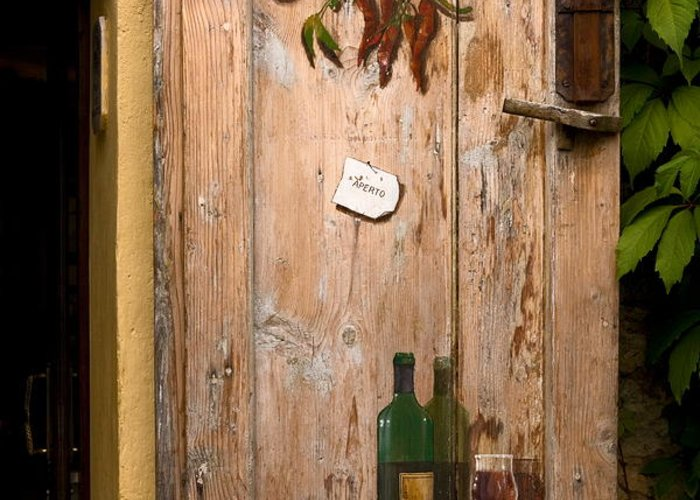 Old Door Greeting Card featuring the photograph Old Door And Wine by Sally Weigand