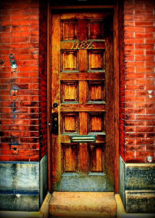 Brick Greeting Card featuring the photograph Old Door by Perry Webster