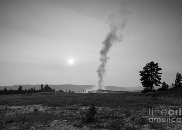 Old Faithful Erupting Greeting Card featuring the photograph Old Faithful Steam Bw by Michael Ver Sprill