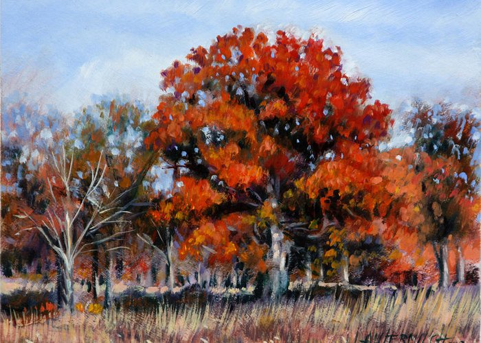 Fall Greeting Card featuring the painting Old Fall Oak by John Lautermilch