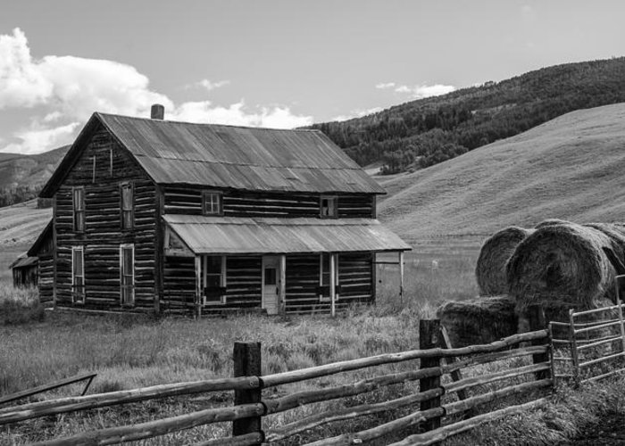 Farm Greeting Card featuring the photograph Old Farm House Black and White by Aaron Spong