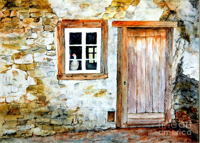 Old Farm House Greeting Card featuring the painting Old Farm House by Sher Nasser