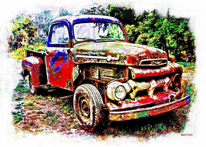 Truck Greeting Card featuring the painting Old Farm Truck by Don Barrett