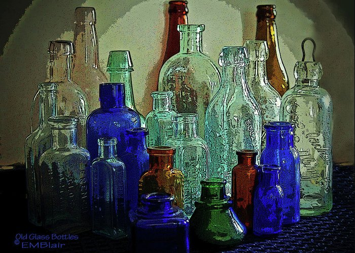 Vintage Greeting Card featuring the painting Old Glass Bottles by Eileen Blair