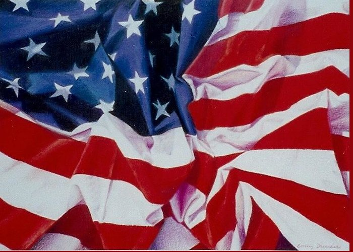 Red Greeting Card featuring the painting Old Glory 1 by Constance Drescher