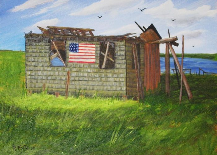 Shack Greeting Card featuring the painting Old Glory by Rich Fotia