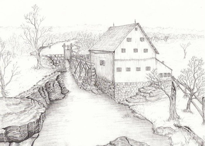 Realistic Drawing Greeting Card featuring the drawing Old Grist Mill by Dan Theisen
