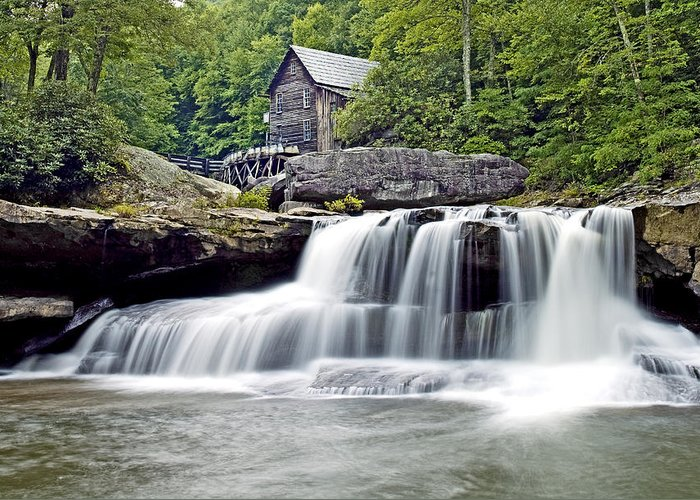 Glade Creek Greeting Card featuring the photograph Old Grist Mill In Babcock State Park West Virginia by Brendan Reals