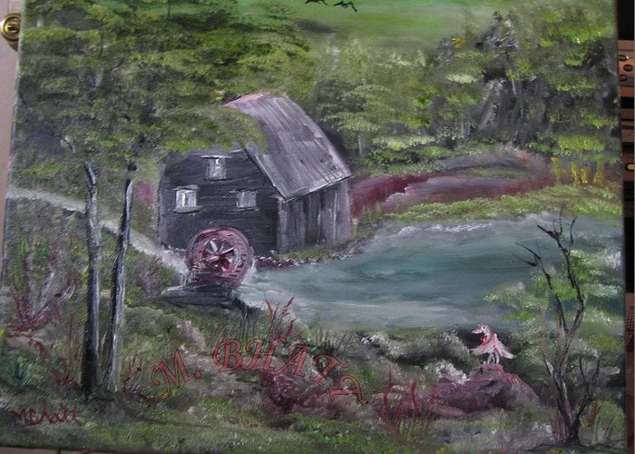 Grist Mill Greeting Card featuring the painting Old Grist Mill by M Bhatt