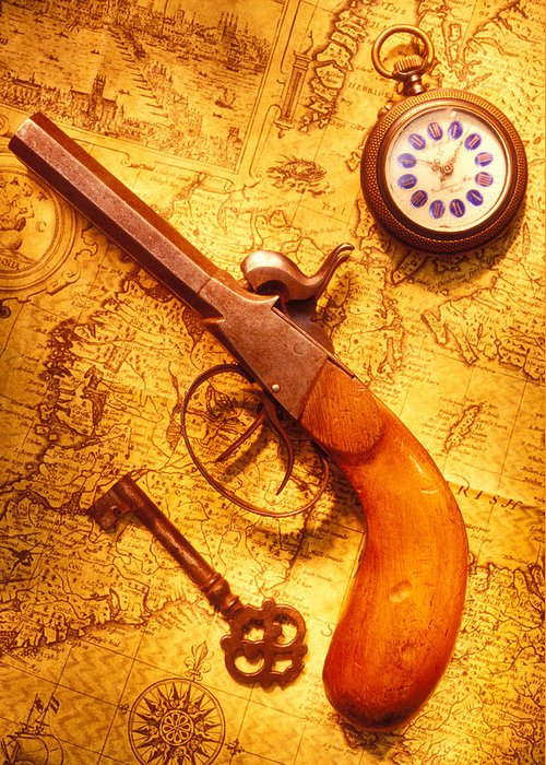 Old Greeting Card featuring the photograph Old Gun On Old Map by Garry Gay