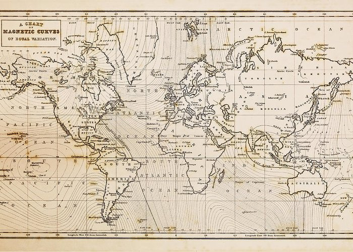World Map Greeting Card featuring the photograph Old Hand Drawn Vintage World Map by Richard Thomas