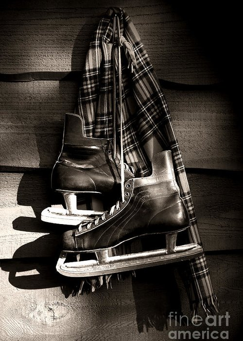 Blades Greeting Card featuring the photograph Old Hockey Skates With Scarf Hanging On A Wall by Sandra Cunningham