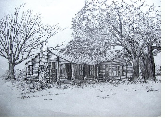 Abandoned Greeting Card featuring the drawing Old Homestead by Otis Cobb