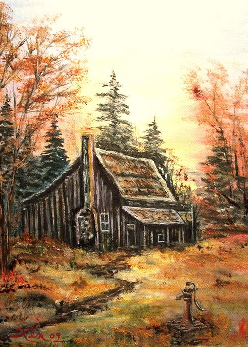 Landscape Old House Pump Greeting Card featuring the painting Old house and Pump by Kenneth LePoidevin