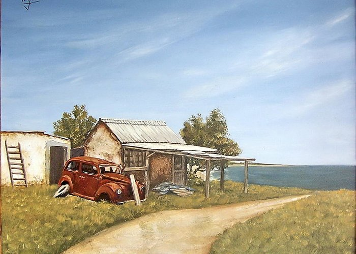 Old House Sea Seascape Landscape Greeting Card featuring the painting Old House By The Sea by Natalia Tejera