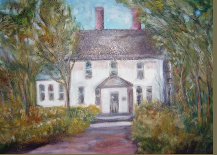 Landscape Greeting Card featuring the painting Old House On A Hill by Joseph Sandora Jr