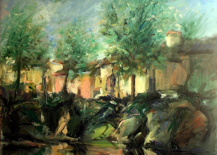 Old Houses Greeting Card featuring the painting Old Houses by Mario Zampedroni