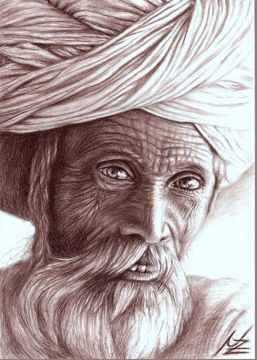 Man Greeting Card featuring the drawing Old Indian Man by Nicole Zeug