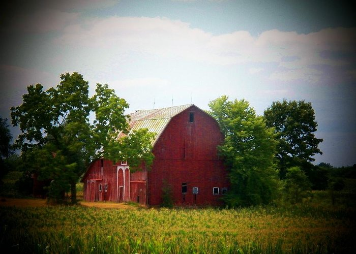 Barn Greeting Card featuring the photograph Old Indiana Barn by Joyce Kimble Smith