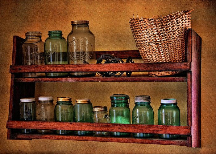 Jar Greeting Card featuring the photograph Old Jars by Lana Trussell