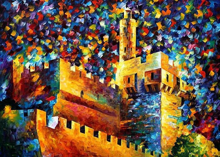 Afremov Greeting Card featuring the painting Old Jerusalem by Leonid Afremov