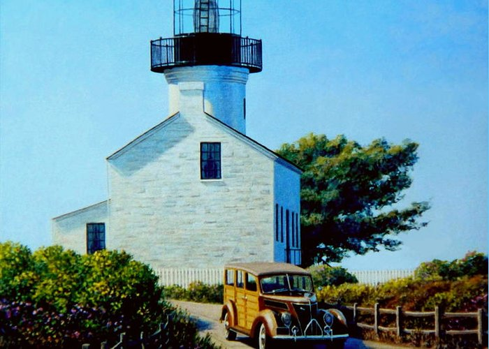Lighthouse Greeting Card featuring the painting Old Lighthouse Point Loma by Frank Dalton