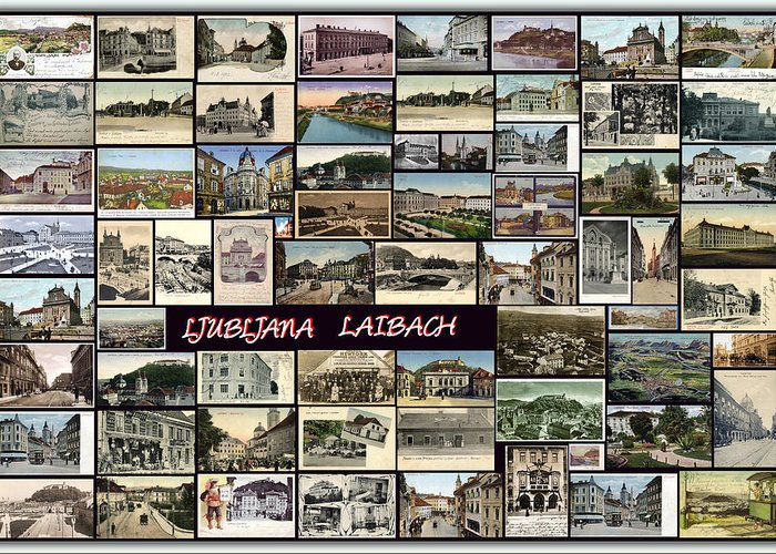 Ljubljana Greeting Card featuring the pyrography Old Ljubljana Collage by Janos Kovac