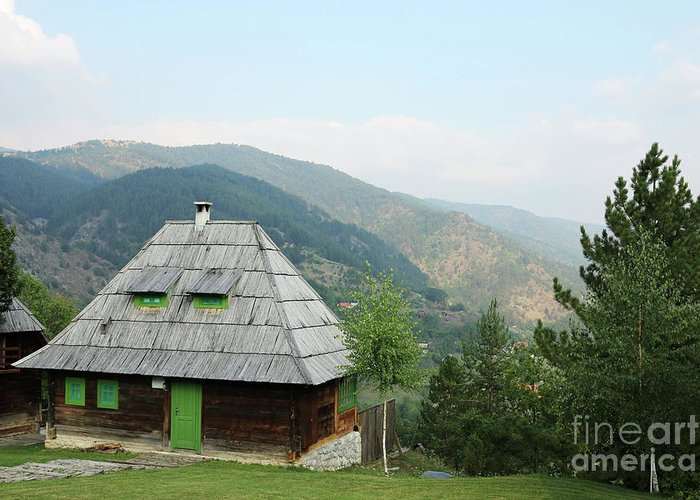 Cabin Greeting Card featuring the photograph Old Log Cabin On Mountain Landscape by Goce Risteski