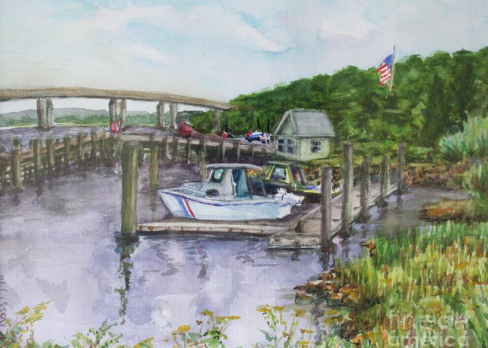Boatyard Greeting Card featuring the painting Old Lyme Boat Yard At The Dep by B Rossitto