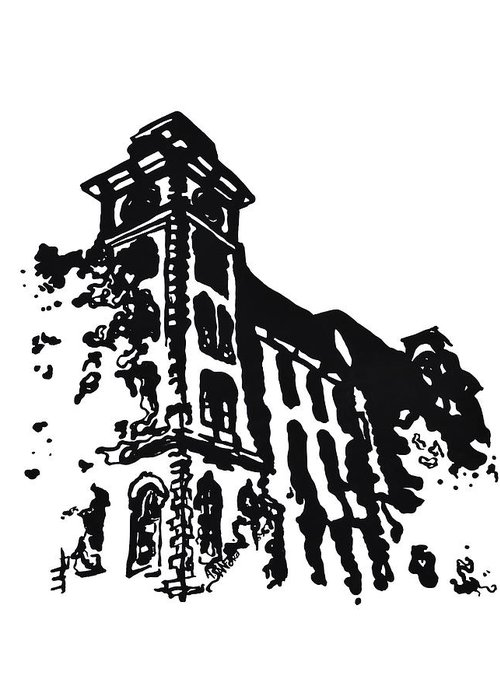 Chancellor Greeting Card featuring the painting Old Main Building In Fayetteville Ar by Amanda Sanford