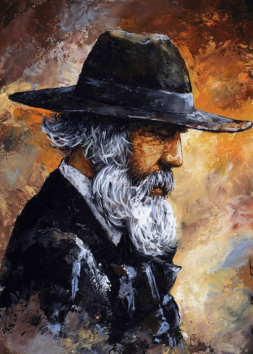 Portrait Greeting Card featuring the painting Old Man by Emerico Imre Toth