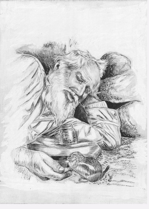 Pen And Ink Greeting Card featuring the painting Old Man Feeding Chipmunk by Samuel Showman
