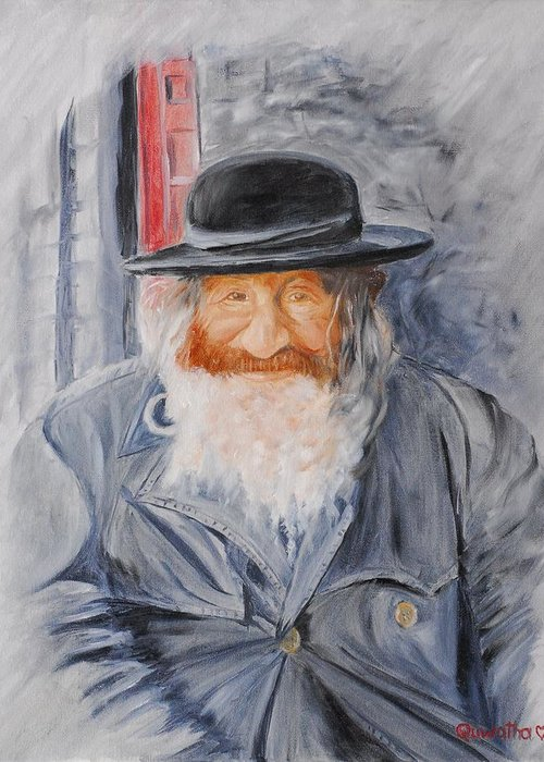 Jerusalem Greeting Card featuring the painting Old Man Of Jerusalem by Quwatha Valentine