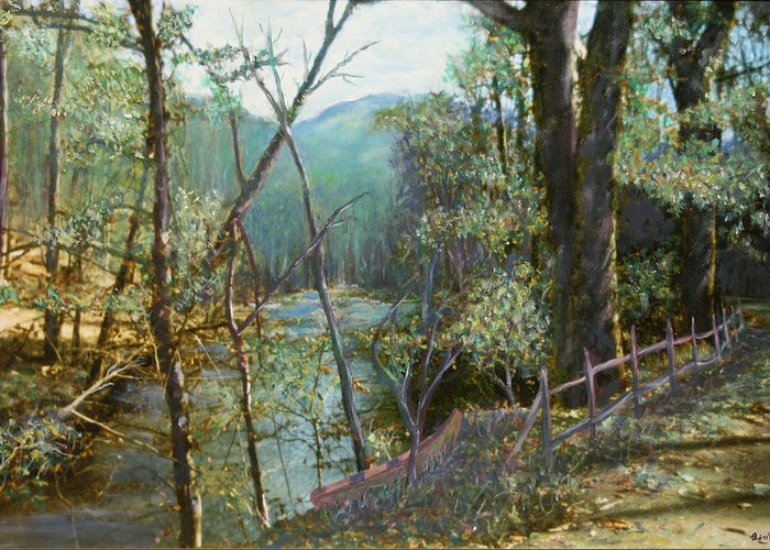 River; Trees; Landscape Greeting Card featuring the painting Old Man River by Ben Kiger