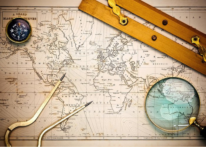 World Map Greeting Card featuring the photograph Old Map And Navigational Objects. by Richard Thomas