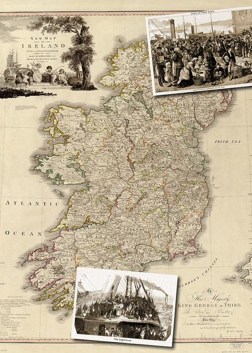 Map Greeting Card featuring the photograph Vintage Map Of Ireland With Old Irish Woodcuts by Karla Beatty