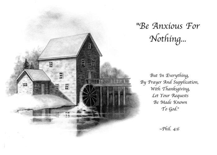 Bible Greeting Card featuring the drawing Old Mill In Pencil With Bible Verse by Joyce Geleynse