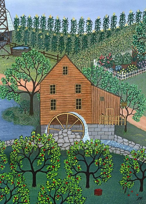 Landscape Greeting Card featuring the painting Old Mill by Linda Mears