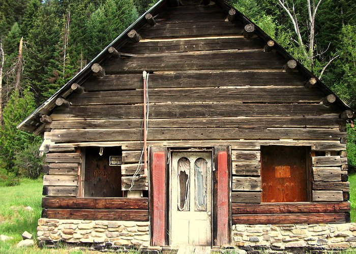 Cabin Greeting Card featuring the painting Old Miner Cabin by Kenneth LePoidevin