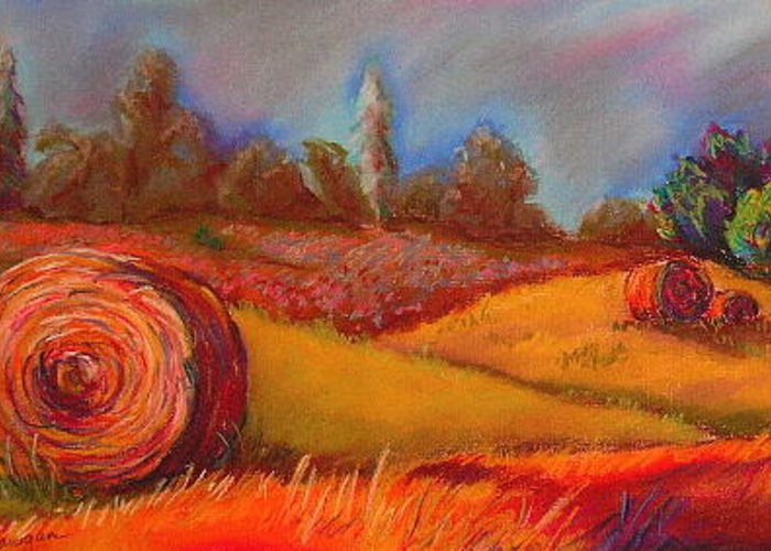 Landscape Greeting Card featuring the painting Old Mission Hayrolls I by Tracey Flanigan