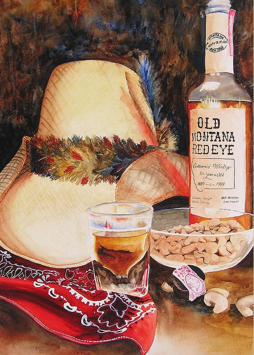 Whiskey Greeting Card featuring the painting Old Montana Red Eye by Karen Stark