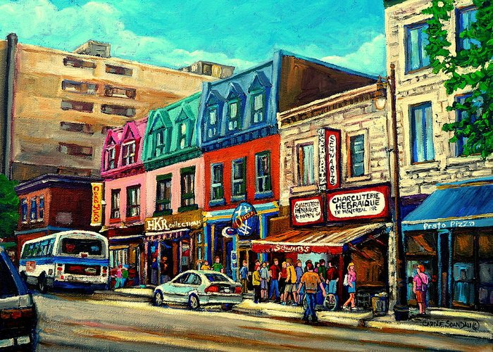 Old Montreal Schwartzs Deli Plateau Montreal City Scenes Greeting Card featuring the painting Old Montreal Schwartzs Deli Plateau Montreal City Scenes by Carole Spandau