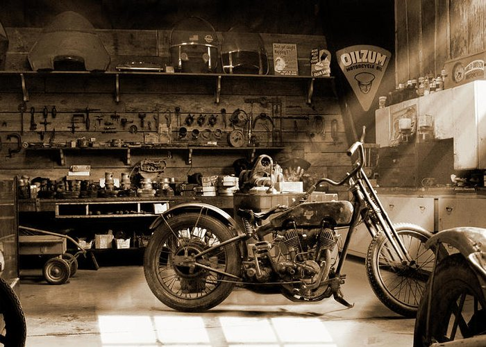 Motorcycle Greeting Card featuring the photograph Old Motorcycle Shop by Mike McGlothlen