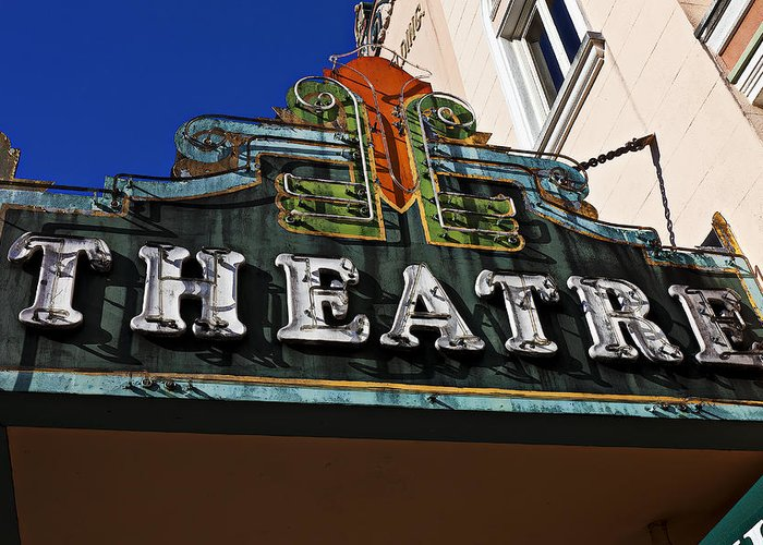 Old Greeting Card featuring the photograph Old Movie Theatre Sign by Garry Gay