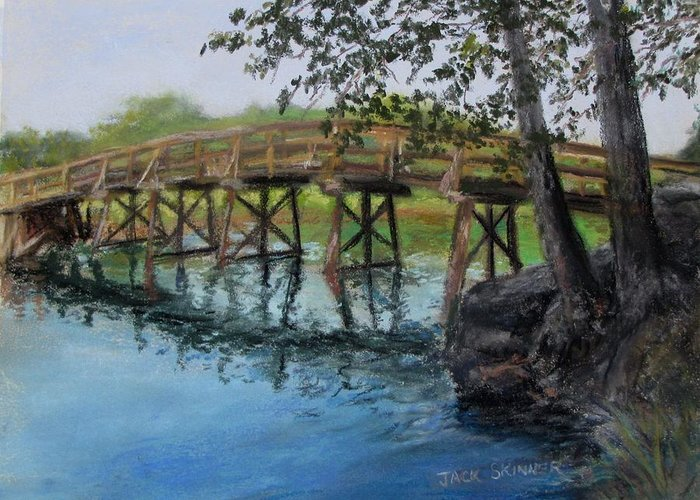 Pastel Greeting Card featuring the painting Old North Bridge In Pastel by Jack Skinner