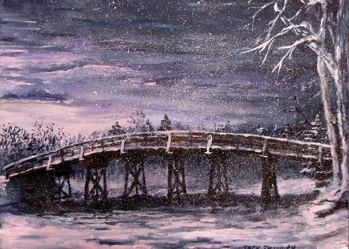 Old North Bridge Greeting Card featuring the painting Old North Bridge In Winter by Jack Skinner